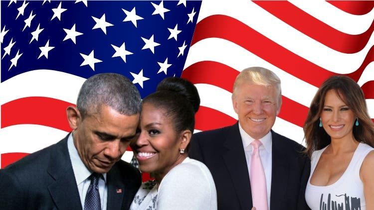 President Barack Obama and Michelle Obama | President Donald Trump and Melania Trump