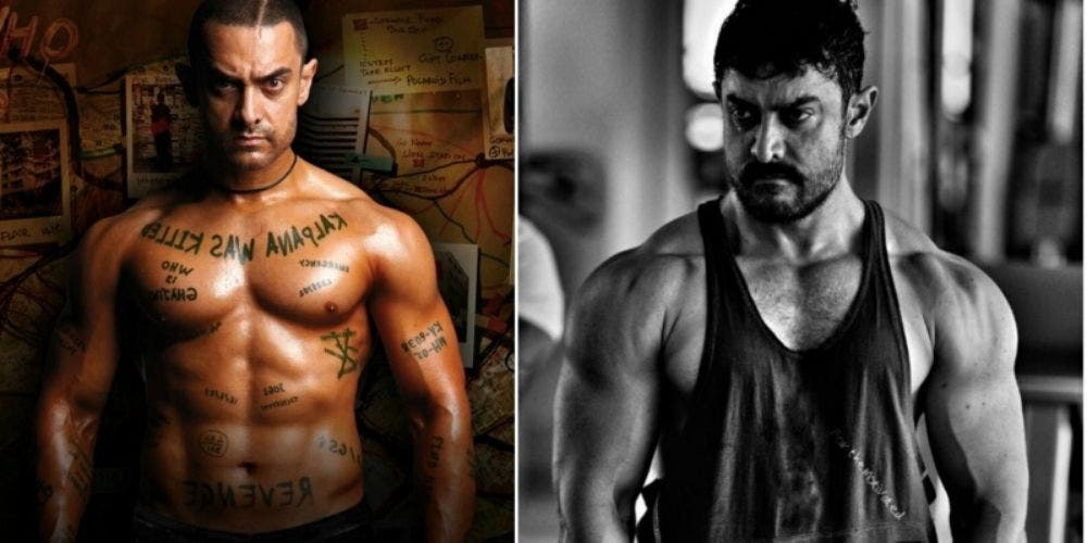 Bollywood actor Aamir Khan Ghajini 6 pack abs