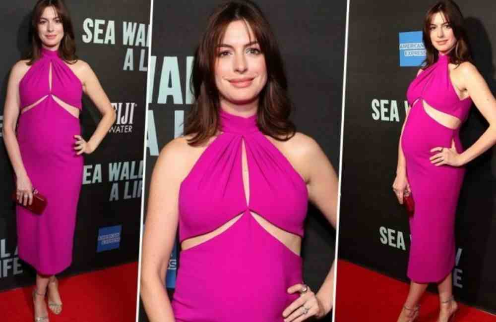 Anne-Hathaway-Pink-Baby-Bump-Red-Carpet-Trending-Today-DKODING