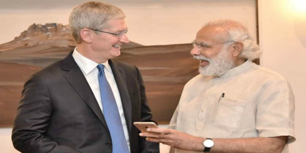 Apple-Tim-Cook-With-Narendra-Modi-Economy-Money-Markets-Business-DKODING