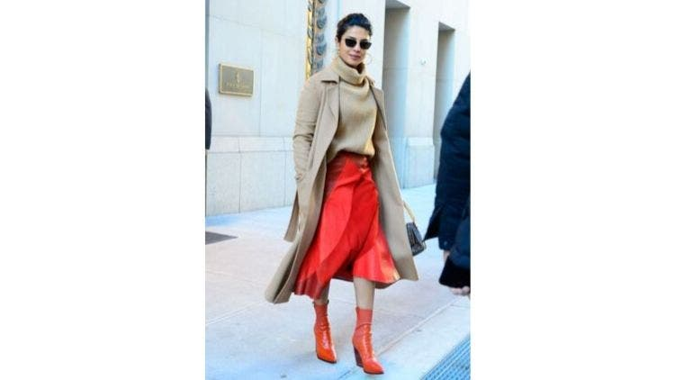 Beige-Turtle-Neck-Red-Skirt-Fashion-And-Beauty-Lifestyle-DKODING