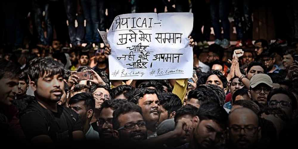 CA students protest against ICAI DKODING