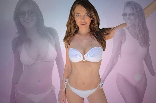 Elizabeth Hurley shared a photo in a white bikini