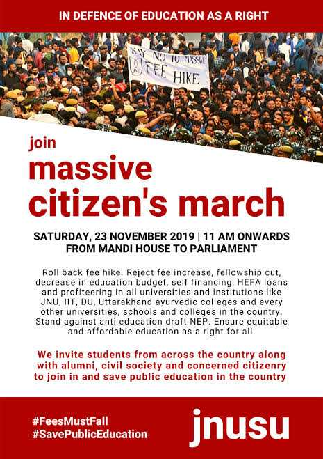 JNU Protest March From Mandi House To Parliament On 23rd November