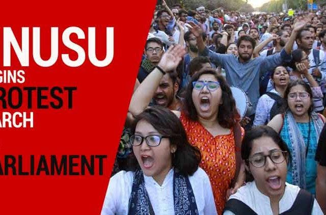 JNUSU-begins-protest-march-to-Parliament-Videos-DKODING