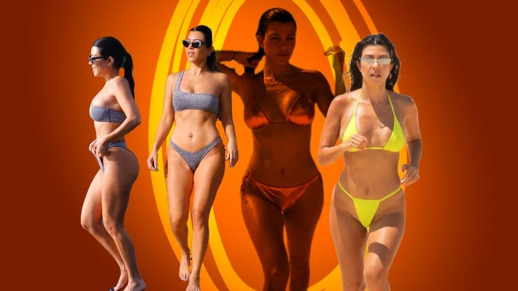 Kourtney Kardashian In Metallic Orange Bikini Is Goals