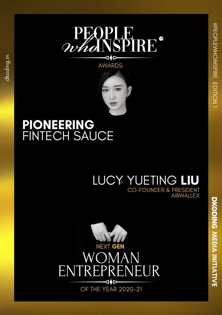 Lucy Yueting Liu People Who Inspire PWI Woman Entrepreneur of the Year Award 2020-21