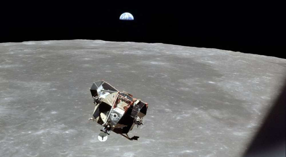 A picture of the Lunar Module of Apollo 11 taken by the 3rd crew member Michael Collins