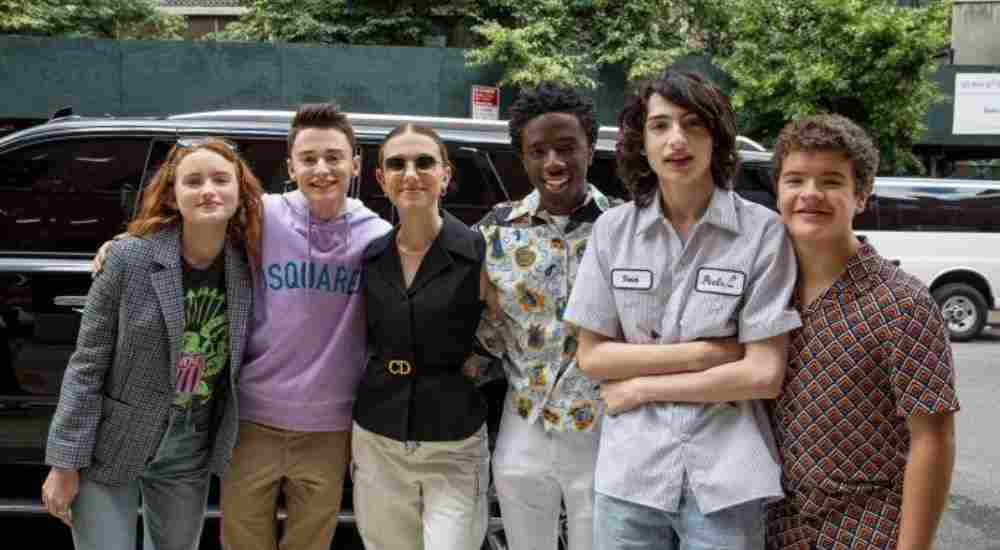 Actress Millie Bobby Brown sing along with her co-stars