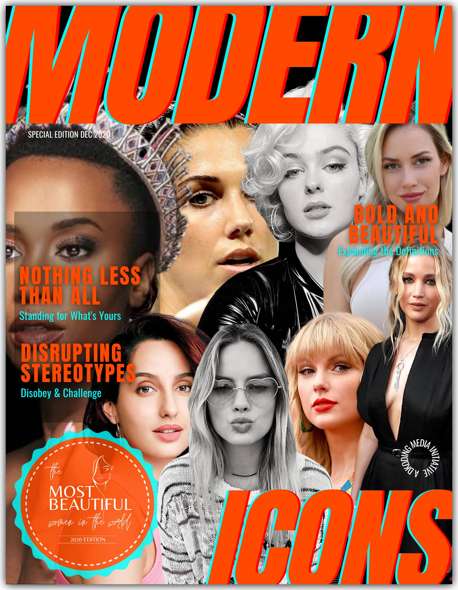 People Who Inspire PWI Most Beautiful Women in the World 2020 - Modern Icons League - Zozibini Tunzi, Nora Fatehi, Taylor Swift, Stefania Ferrario, Jennifer Lawrence, Alex Morgan, Paige Spiranac