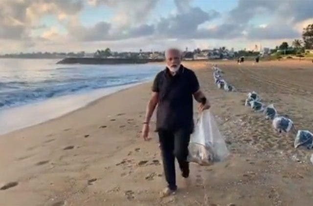 Modi Plogging Chennai Beach Trending Today DKODING