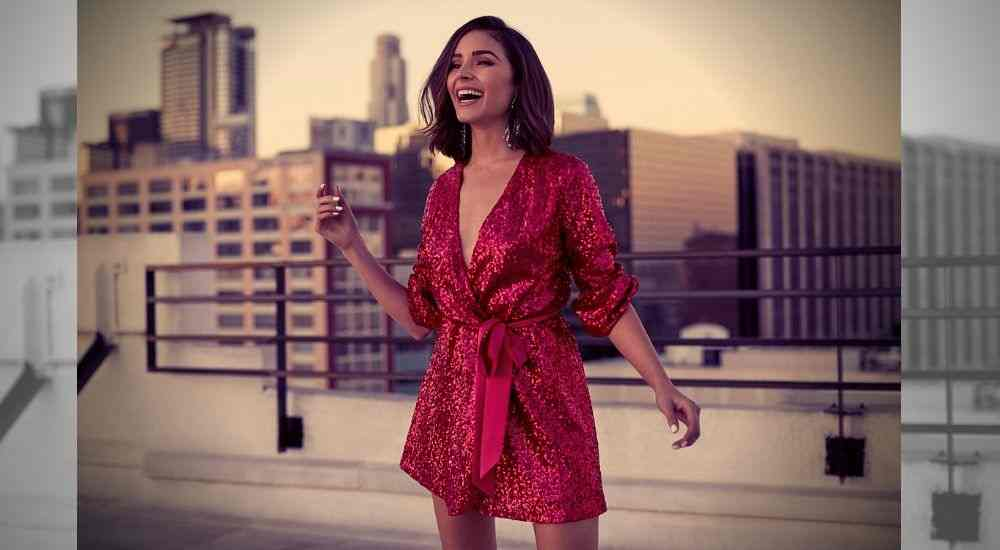 Olivia-Culpo-Pink-Red-Wrap-Dress-Trending-Today-DKODING