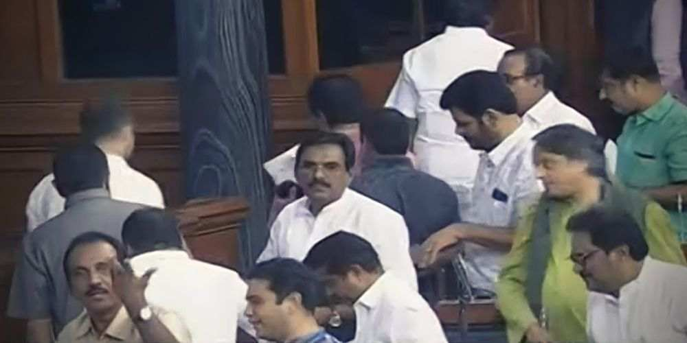 Opposition-MPs-Walkout-From-RS-Over-Trump-India-Politics-DKODING
