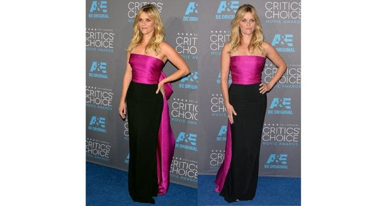 Reese-Witherspoon-Magenta-Black-Dress-Fashion-And-Beauty-Lifestyle-DKODING