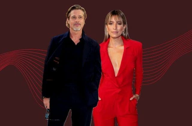 Renee Bargh and Brad Pitt