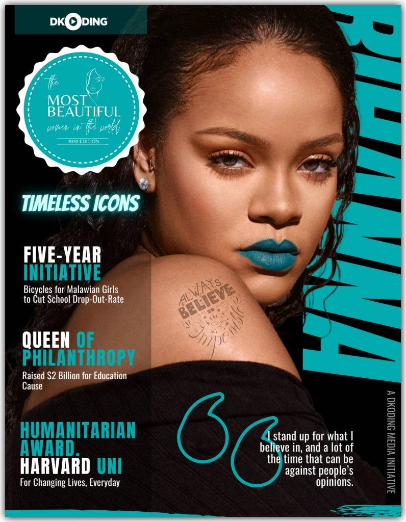 Rihanna Most Beautiful Women in The World, People Who Inspire (PWI) Awards 2020