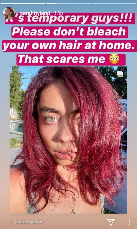 Sarah Hyland tells her fans to not to colour hair at home