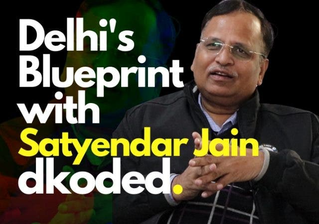 Satyendar Jain interview explaining Delhi health care, water and transport system.