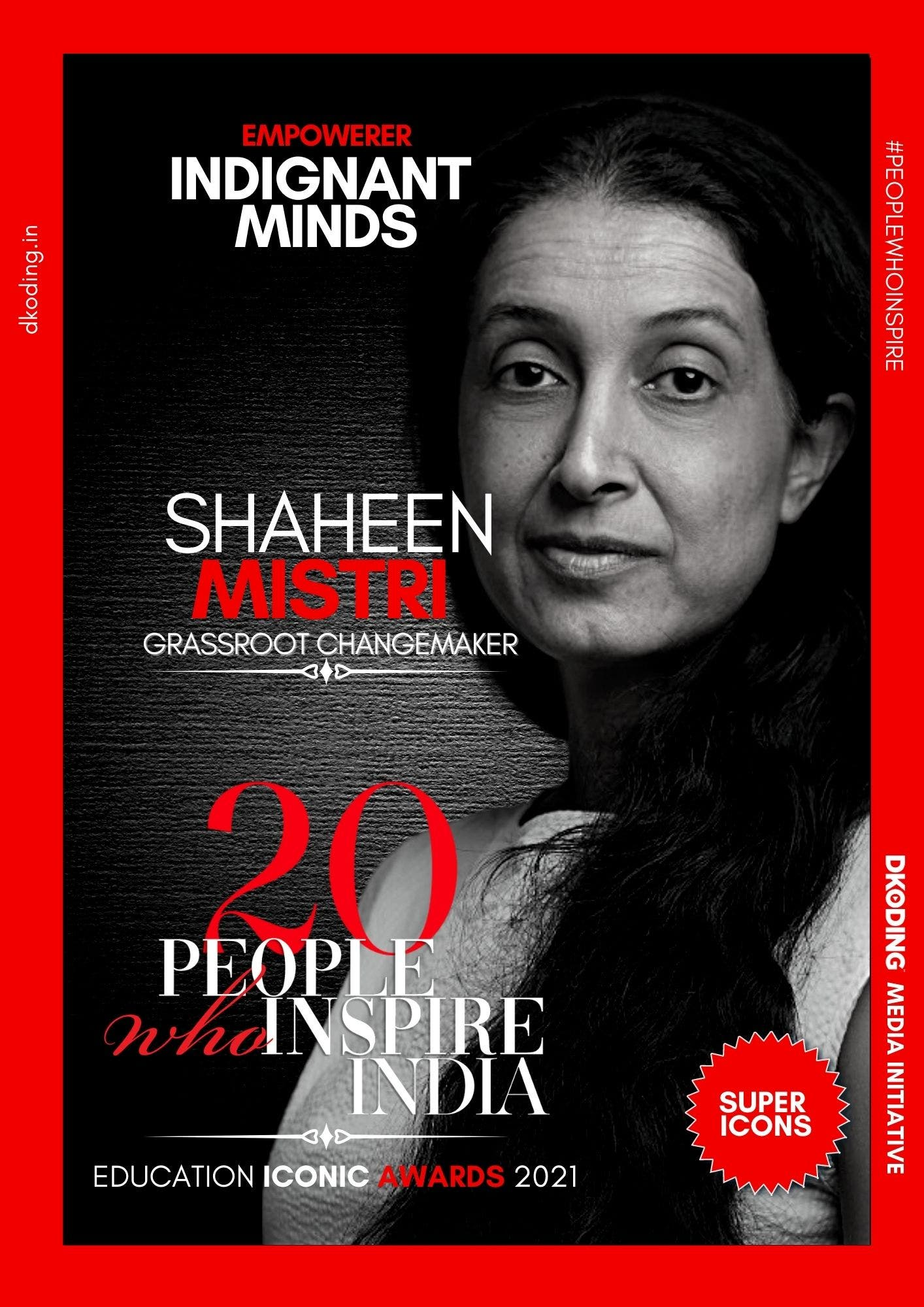 Shaheen Mistri wins People Who Inspire India PWI Education Iconic Award 2021
