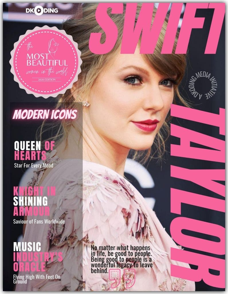 taylor Swift was adjudicated among the 'PWI Most Beautiful Woman In The World (Timeless Icons)' at the People Who Inspire Awards 2020.