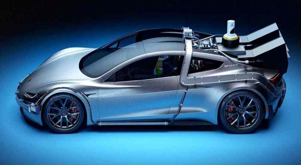 Tesla and SpaceX Mashup car side view | Newsshot | DKODING