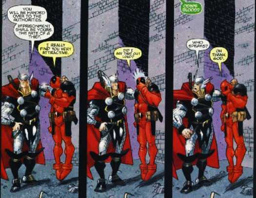Deadpool and Thor love in Comic
