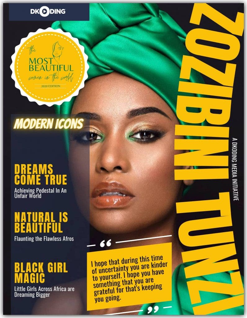 Zozibini Tunzi was adjudicated among the 'PWI Most Beautiful Woman In The World (Timeless Icons)' at the People Who Inspire Awards 2020.