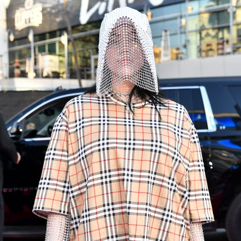 Billie Eilish looks funny in her Burberry beekeeping outfit